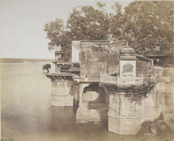 A Ghaut at Bindrabund  Photograph of a ghat at Vrindavan in Uttar Pradesh, from the Murray Collection, taken by John Mur